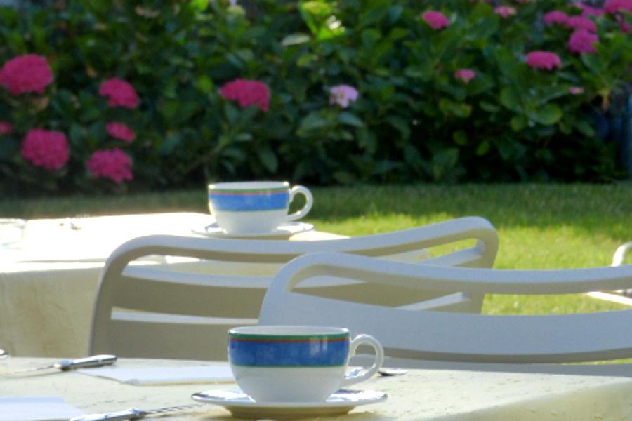La terasse fleurie pour les petit déjeuners de l'hôtel la Tonnellerie entre Orléans et Blois