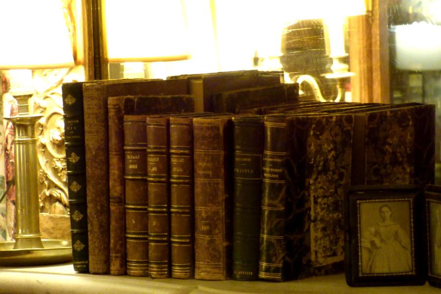 Livres anciens sur la cheminée du salon de l'hôtel la Tonnellerie de Tavers