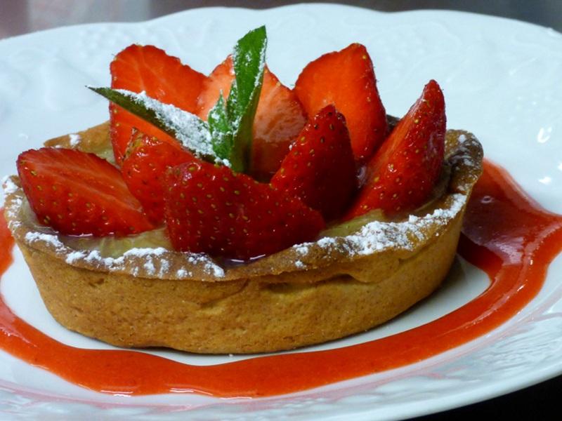 tartelette aux fraises mara des bois de l'hotel la Tonnellerie près du chateau de Chambord
